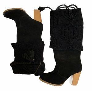 Muk luks black boots rubber sole size 7